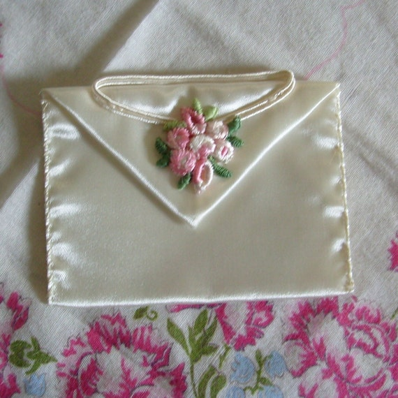 Vintage bride's garter wallet by Hortense Hewitt ivory with rosette accent perfect for wedding money dance
