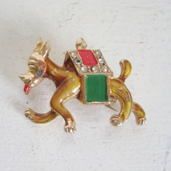 Vintage enamel rhinestone dog brooch puppy pin in doghouse gold tone