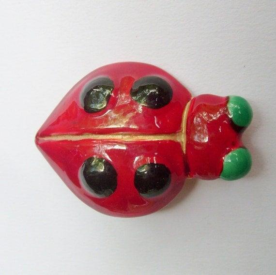 Vintage red enamel Sandor ladybug pin or brooch figural insect bug animal jewelry