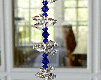 "Rainbow Maker, Swarovski Crystal Sun Catcher w/ 30mm Crystal Ball, Cobalt Crystal Beads and Crystal Octagons, Comes in 12 Colors - ""NATALIE"""