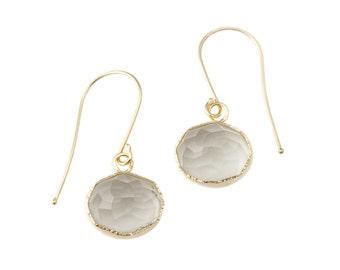 Nena Dangle Earrings, customizable oval gemstone, handmade with recycled 14k gold, Citrine, Chrysoprase, Honey Quartz, Green Garnet