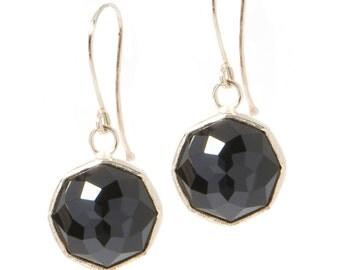 Onyx Nena Dangle Earrings with 14K Gold Handmade Bezel Drop Earrings, Custom Gemstone Earrings