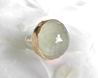 PRAISOLITE DOME ring, high dome gemstone, handmade with recycled 14k gold and silver, customizable band