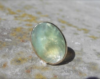 Handcrafted Prehnite Cocktail Ring with recycled 14k Gold and Silver, Handmade One of a Kind Ring, Wedding ring