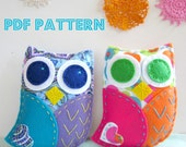 PDF Owl Softie Pattern Felt Hand Sewing Embroidery Project Toy Cute Plush