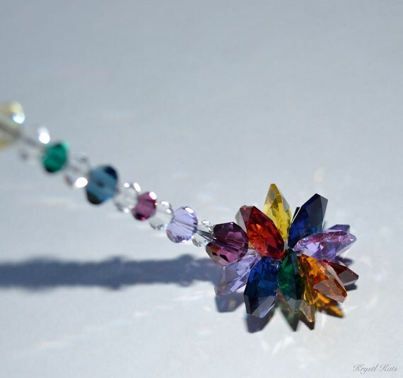 """8"""" Colorful Rainbow Beaded Starburst Cluster Suncatcher, 14 Point Star, Car Jewelry Charm, Hanging Crystals, Dancing Rainbows, More Colors"""