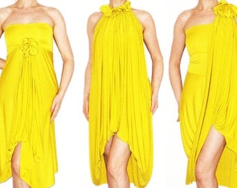 Convertible Wrap Infinity Multi - way Dress Tunic Skirt Pants in Yellow jersey - more than 18 ways to wear, No.1