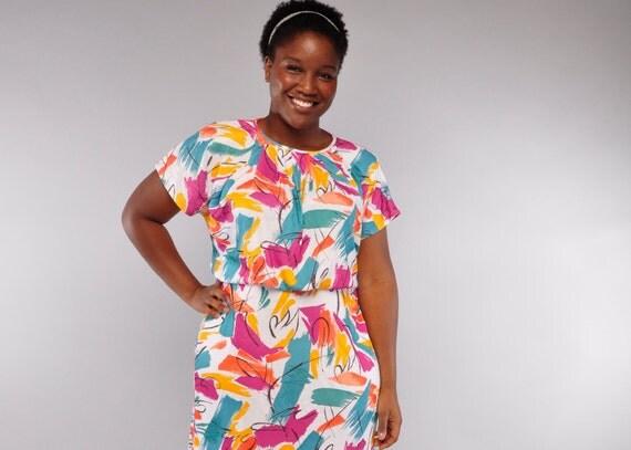 Vintage Plus Size Dress // 80's Splash Paint Knit Dress // XL XXL