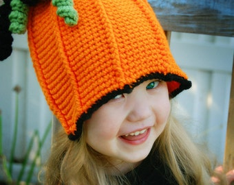 Easy Pumpkin Hat -  Child size - girl or boy - PDF pattern - Fun Photography Prop - Instant Download