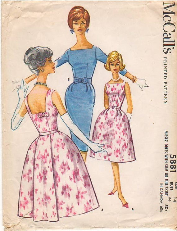 Vintage Pattern McCall's 5881 Dress with Slim or Bell Skirt 60s Size 14 B34