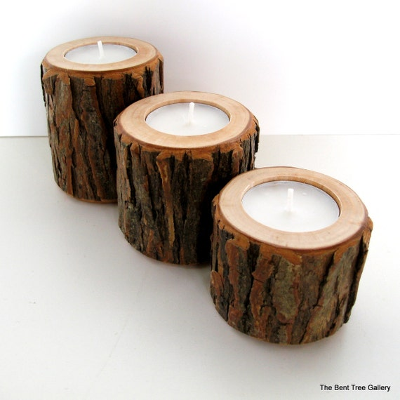 Rustic Candles Trio Made of Willow Wood in Graduated Sizes
