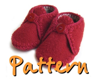PATTERN  Felted recycled wool sweater baby booties