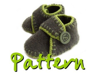 PATTERN Felted recycled wool baby booties with strap