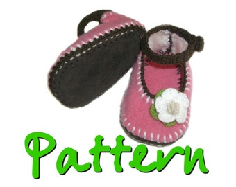 PATTERN - Recycled wool felted baby Mary-Jane booties
