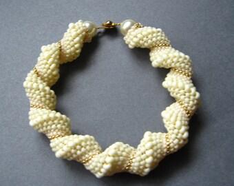 ivory spiral beadwoven bracelet cellini beaded jewelry seed bead bangle wedding