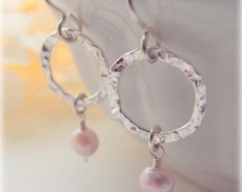 "Soft Pink Pearl Earrings - Sterling Silver Textured 1/2"" Hoops - Sterling Silver Ear Wires - Freshwater Pearls - Simple Classy Feminine"