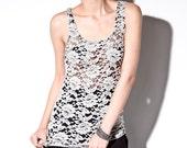Lace Sheer Top - Womens Tops Floral Sleeveless Shirt Small Medium Large
