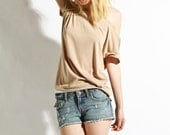 Oxford Slouch Tee - Beige Tunic Womens Blouse Jersey Shirt