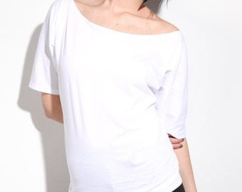 Off The Shoulder Top / Cotton Tees / Summer Shirts / White Basics Tshirt / USA Made