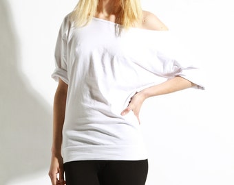 Off The Shoulder Top,  Oversized Cotton Shirt, Womens Tee, White Tshirt, Basics, Off Shoulder Basics, XL shirts, Womens Blouse, Cotton Tops