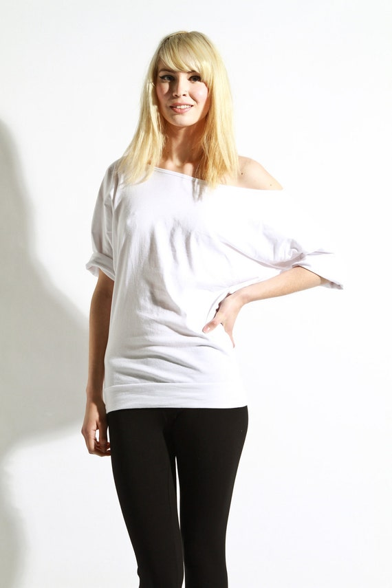 Off The Shoulder Top -  Oversized Cotton Shirt, Womens White Tops large and red vneck medium