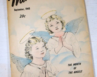 Vintage Mine, Month Of Angels, A Magazine For The Junior Catholic, September 1943, Illustrated, Mid Century, Children's Stories, Little Mary