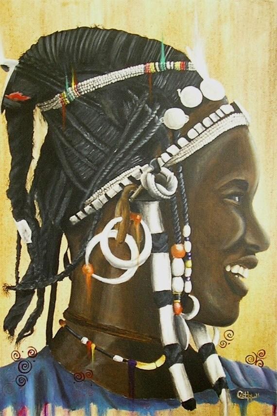 Fulani Woman Painting with Maria Theresa Dollars - Original Pigments