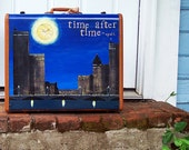 Hand Painted Vintage Suitcase for Stacking or Storage - Blue Clocks Time After Time Cyndi Lauper - One of A Kind Art Samsonite Home Decor