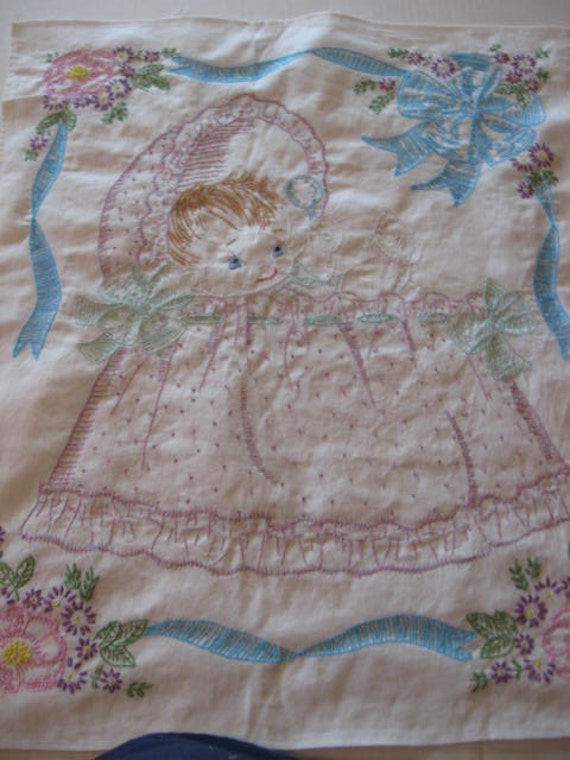 Baby in Basinette, Large Hand-embroidered Quilt Block, Free Shipping in USA