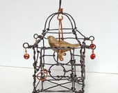 Hand Carved Tiny Dove in Handmade Wire Pagoda Cage