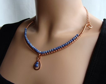 Copper & Sodalite Periwinkle Blue Wire Wrapped Torq Necklace + Earrings