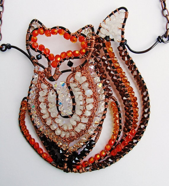 Reserved for Y - Fiery Fox Necklace - Copper, Moonstone, Crystal Statement Necklace
