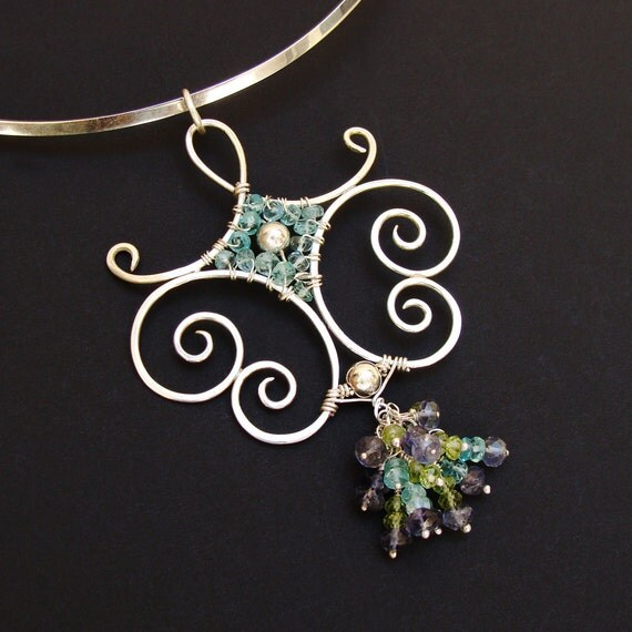 Spiraling Sterling & Gemstones Pendant 'Arabesque' Statement Necklace
