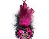 Gothic Lolita Victorian Pink Fuchsia and Black Fancy BROOCH with Roses and Feathers
