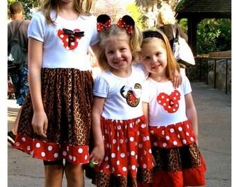 DISNEY DRESS, minnie mouse dress, safari dress, animal kingdom, birthday party dress, girls minnie mouse birthday dress, 1st Birthday party