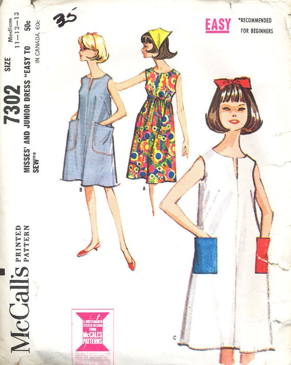 McCALL'S 7302 Misses and Junior Tent Dress UNCUT Pattern Size 11 12 13