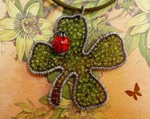 I have luck on my side - sterling silver and peridot gemstone clover pendant