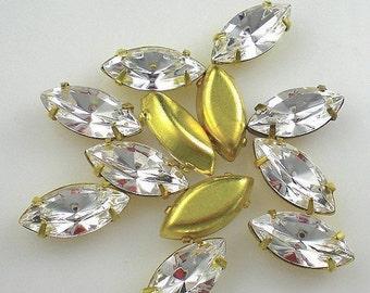 Swarovski Crystal Rhinestones Vintage in Settings Foil Back Navette 15x7mm