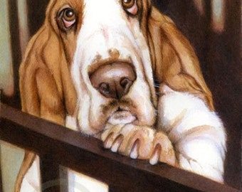 Basset signed print I Waited Up Free Matching card