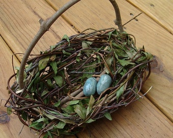 Pottery Eggs, Sea Blue, Adorable, For Your Wedding Attendant Basket, To Be Wired In, Baby Shower Decor