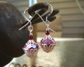 Cupcake Earrings Beaded Earrings with Pink Czech Glass, Cherry Crystal, and Sterling Silver