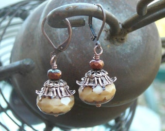 Snickerdoodle - Beige and Stone Czech Glass, Antique Style Copper Leverback Earrings