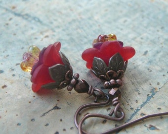 Petite Red Flower Earrings with Lucite Flowers, Czech Glass and Antiqued Copper