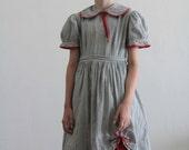 1950s Little Girl Dress . Plaid . Grey and White . Red Trim . Mid Century Childrens Sundress . Kids