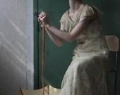 Antique 20s Silk Dress . Green Floral . Flapper Gown . Bias Cut . 1920s Gatsby Era