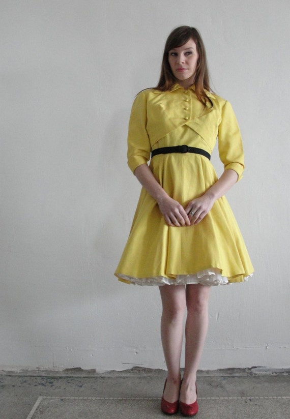 Vintage 1960s Two Piece . Dress Jacket Bolero . Handmade . Sunshine Yellow
