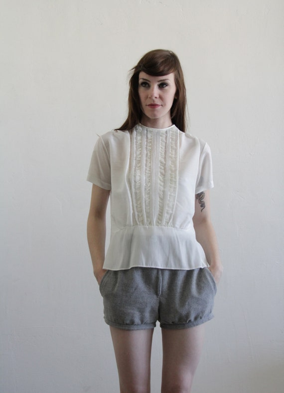 RESERVED Vintage 1960s Blouse . Lace Top . White Shirt . Back Button . White