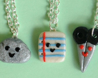 3 Best Friend Necklaces, Rock Paper Scissor Charm Necklaces, BFF Charms, BFF Necklaces