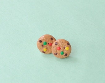 Miniature Chocolate Chip and M&M Cookie Earring Studs Food Jewelry, Polymer Clay, Handmade, BFF Gift
