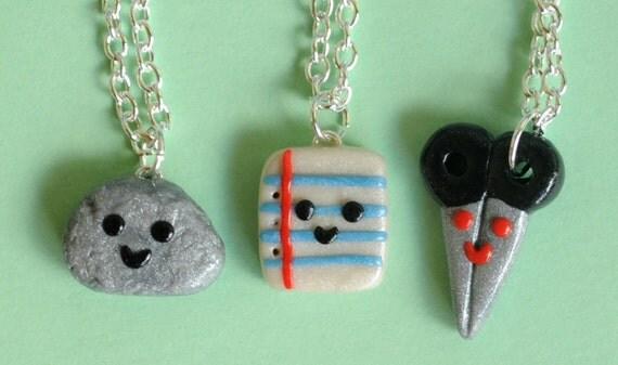 Rock Paper Scissor 3 Best Friend Necklaces, Back to School, Nostalgic Hand Game, Miniature Jewelry